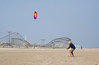 Father and Son, flying a kite on the beach, Wildwood, New Jersey