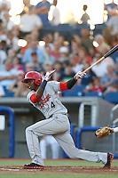 Saquan Johnson #4 of the Spokane Indians bats against the Hillsboro Hops at Hillsboro Ballpark on July 22, 2013 in Hillsboro Oregon. Spokane defeated Hillsboro, 11-3. (Larry Goren/Four Seam Images)