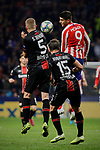 Alvaro Morata of Atletico de Madrid and Sven Bender (L) and Julian Baumgartlinger (R) of Bayer 04 Leverkusen during the UEFA Europa League match between Atletico de Madrid and Bayer 04 Leverkusen at Wanda Metropolitano Stadium in Madrid, Spain. October 22, 2019. (ALTERPHOTOS/A. Perez Meca)