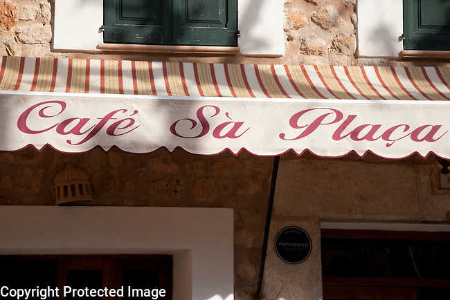 Sa Placa Cafe Sign in Fornalutx, Majorca, Spain