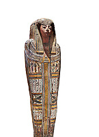 """Ancient Egyptian wooden sarcophagus - the tomb of Tagiaset, Iuefdi & Harwa circa 22nd Dynasty (943 - 716 BC.) Thebes. Egyptian Museum, Turin. white background.<br /> <br /> Coffin lid of the eldest woman buried in the tomb, probably Tagiasettahekat, wife of Padiau. The sarcophagus decoration includes representation of strips crossed over her chest typical of """"stoa coffin"""" of the 22nd dynasty."""