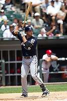 Milwaukee Brewers outfielder Ryan Braun #8 at bat during the Major League Baseball game against the Chicago White Sox on June 24, 2012 at US Cellular Field in Chicago, Illinois. The White Sox defeated the Brewers 1-0 in 10 innings. (Andrew Woolley/Four Seam Images).