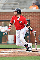 Georgia Bulldogs catcher Brandon Stephens (5) swings at a pitch during a game against the Tennessee Volunteers at Lindsey Nelson Stadium March 21, 2015 in Knoxville, Tennessee. The Bulldogs defeated the Volunteers 12-7. (Tony Farlow/Four Seam Images)