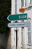 road sign dijon d974 vosne-romanee cote de nuits burgundy france