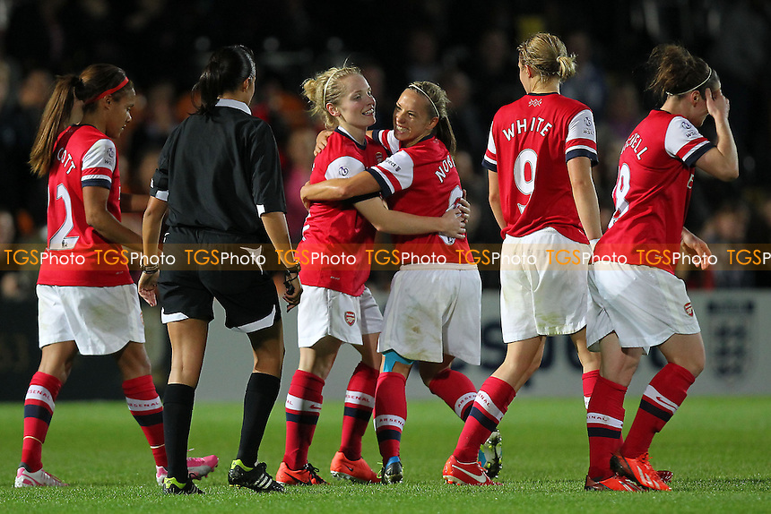 Kim Little of Arsenal Ladies (3rd L) is congratulated on scoring the second goal - Arsenal Ladies vs Lincoln Ladies - FA Womens Super League Continental Cup Final Football at The Hive Stadium, Barnet FC - 04/10/13 - MANDATORY CREDIT: Gavin Ellis/TGSPHOTO - Self billing applies where appropriate - 0845 094 6026 - contact@tgsphoto.co.uk - NO UNPAID USE