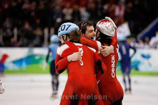 Trent Nelson  |  The Salt Lake Tribune.Men's 5000m relay final, Short Track Speed Skating at the Pacific Coliseum Vancouver, XXI Olympic Winter Games, Friday, February 26, 2010. Canda gold (Charles Hamelin 205, Francois Hamelin 206, Olivier Jean 207, Francois-Louis Tremblay 208), Korea silver (Kwak Yoon-Gy 241, Lee Ho-Suk 242, Lee Jung-Su 243, Sung Si-Bak 244), USA bronze (J.R. Celski 252, Travis Jayner 254, Jordan Malone 255, Apolo Anton Ohno 256).