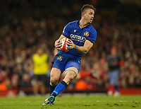 1st February 2020; Millennium Stadium, Cardiff, Glamorgan, Wales; International Rugby, Six Nations Rugby, Wales versus Italy; Abraham Steyn of Italy gathers the loose ball