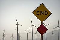 End Road Sign, Palm Desert CA, Wind Turbine Farm