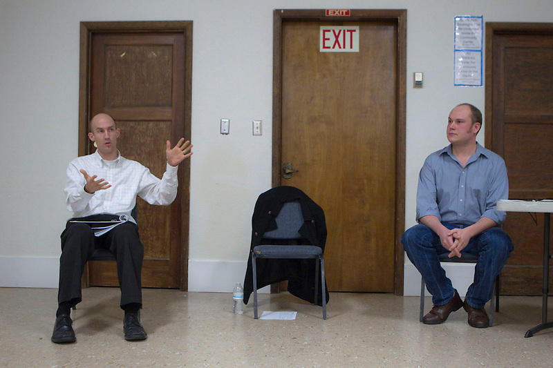 Jared Larrabee (L), Vice President of Pacific Northwest Operations, Savage and General Manager for Tesoro-Savage Energy Distribution Terminal debates the merits  of a coal terminal as  a neighborhood association holds a moderated discussion in The Fruit Valley Community Center about whether to welcome the terminal in their neighborhood in Vancouver, Monday February 10, 2014. (Natalie Behring/for the Columbian)