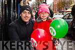 Kevin and Ciara Marie Roche, Tralee, getting in to the festive atmosphere at the Tralee Christmas Parade on Saturday.