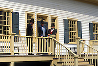 Thunder Bay, Canada, Ontario, Staff dressed in authentic costumes outside the Great Hall at Old Fort William, Fur Trading Post, in Thunder Bay.