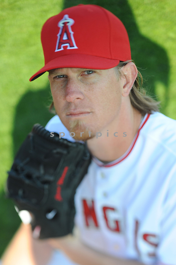 Los Angeles Angels Jared Weaver (36) during media photo day on February 21, 2013 at spring training in Tempe, AZ.