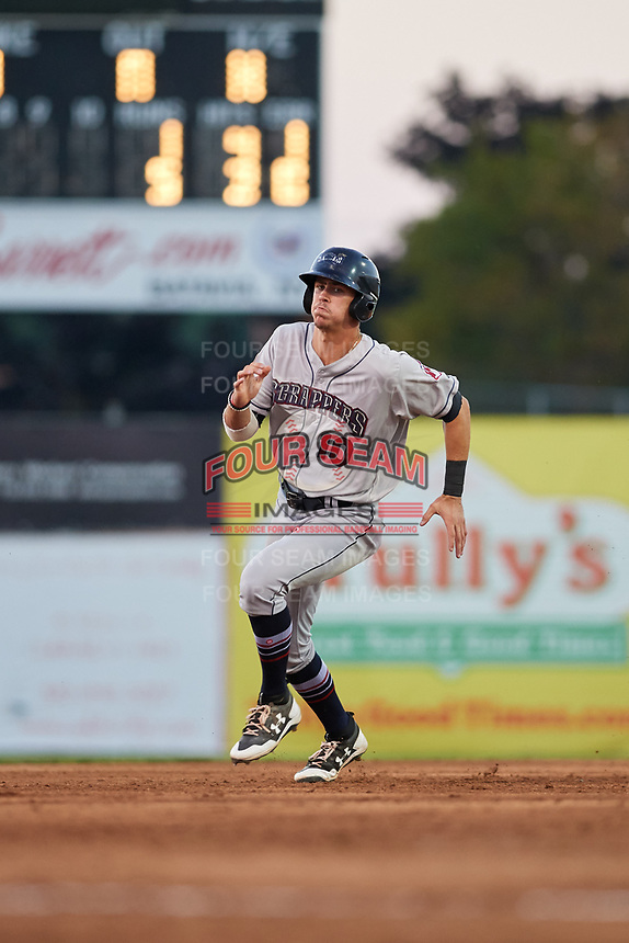 Mahoning Valley Scrappers third baseman Nolan Jones (10) runs the bases during a game against the Batavia Muckdogs on August 16, 2017 at Dwyer Stadium in Batavia, New York.  Batavia defeated Mahoning Valley 10-6.  (Mike Janes/Four Seam Images)