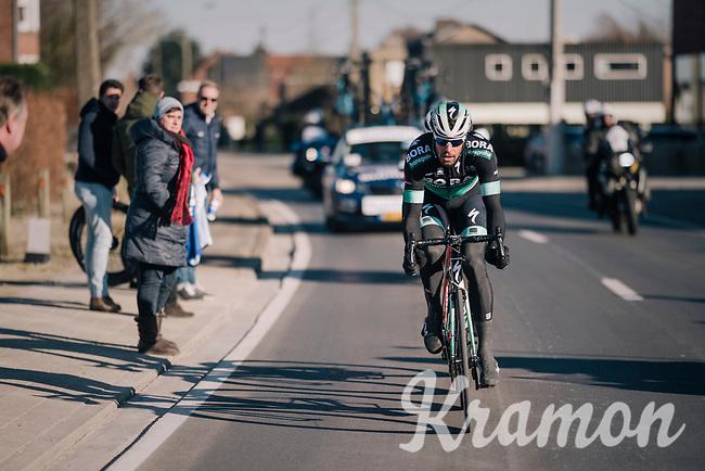 Daniël Oss (ITA/Bora Hansgrohe) hiding Jasper Stuyven (BEL/Trek-Segafredo) in his wake while leading the race<br /> <br /> 70th Kuurne-Brussel-Kuurne 2018<br /> Kuurne › Kuurne: 200km (BELGIUM)