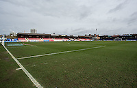 Incredibly the Match is postponed due to a waterlogged pitch at 9.15 am by referee ANDREW MADLEY during the Sky Bet League 2 match between AFC Wimbledon and Portsmouth at the Cherry Red Records Stadium, Kingston, England on the 28th March 2016. Photo by Liam McAvoy.