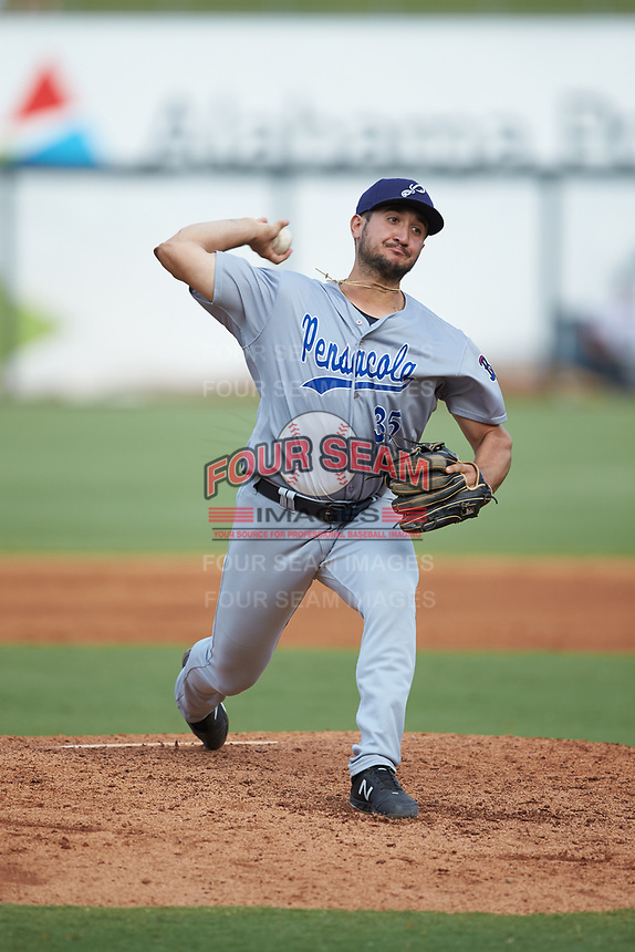 Pensacola Blue Wahoos relief pitcher Hector Lujan (35) in action against the Birmingham Barons at Regions Field on July 7, 2019 in Birmingham, Alabama. The Barons defeated the Blue Wahoos 6-5 in 10 innings. (Brian Westerholt/Four Seam Images)