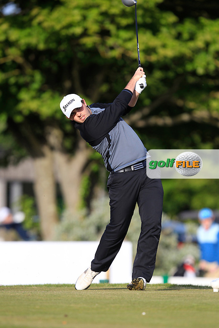 Alan Lowry (Esker Hills) on the 1st tee during Round 1 of the East of Ireland Amateur Open Championship at Co. Louth Golf Club, Baltray on Saturday 30th May 2015.<br /> Picture:  Thos Caffrey / www.golffile.ie