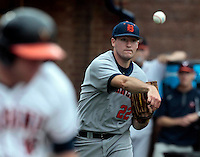 Bucknell pitcher Bryson Hough (22) throws to first for the out during the game against Virginia Friday at Davenport Field in Charlottesville, VA. Photo/The Daily Progress/Andrew Shurtleff