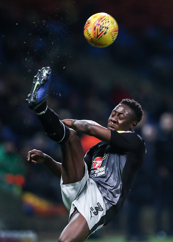 Reading's Andy Yiadom clears<br /> <br /> Photographer Andrew Kearns/CameraSport<br /> <br /> The EFL Sky Bet Championship - Bolton Wanderers v Reading - Tuesday 29th January 2019 - University of Bolton Stadium - Bolton<br /> <br /> World Copyright © 2019 CameraSport. All rights reserved. 43 Linden Ave. Countesthorpe. Leicester. England. LE8 5PG - Tel: +44 (0) 116 277 4147 - admin@camerasport.com - www.camerasport.com