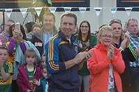 18-1-2017: Fans cheer as four goal hero, Team Captain and Man of the Match, David Clifford from Fossa Killarney with the Tommy Markem Cup as the team bus pulls into  Fitzgerald Stadium Killarney to receive a hero's welcome at the homecoming on Monday evening.<br /> Photo: Don MacMonagle