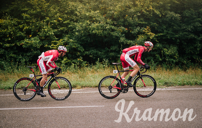 Dimitri Claeys (BEL/Cofidis) & Julien Simon (FRA/Cofidis) upping the pace of the peloton<br /> <br /> 2018 Binche - Chimay - Binche / Memorial Frank Vandenbroucke (1.1 Europe Tour)<br /> 1 Day Race: Binche to Binche (197km)