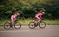 Dimitri Claeys (BEL/Cofidis) &amp; Julien Simon (FRA/Cofidis) upping the pace of the peloton<br /> <br /> 2018 Binche - Chimay - Binche / Memorial Frank Vandenbroucke (1.1 Europe Tour)<br /> 1 Day Race: Binche to Binche (197km)