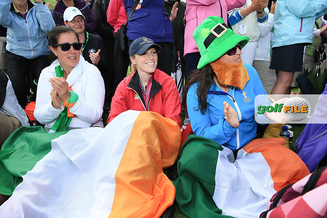 Fans adorned in Irish colours during the Prize Ceremony at the 2016 Curtis Cup, played at Dun Laoghaire GC, Enniskerry, Co Wicklow, Ireland. 12/06/2016. Picture: David Lloyd | Golffile. <br /> <br /> All photo usage must display a mandatory copyright credit to &copy; Golffile | David Lloyd.