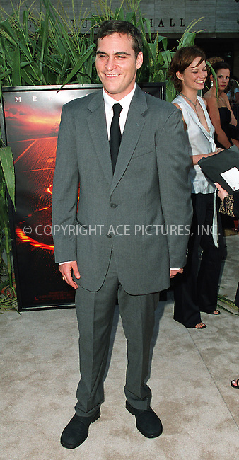 "Joaquin Phoenix arrives at the world premiere of Touchstone Pictures' movie, ""Signs"" at Lincoln Center, New York. July 29, 2002. Please byline: Alecsey Boldeskul/NY Photo Press.   ..*PAY-PER-USE*      ....NY Photo Press:  ..phone (646) 267-6913;   ..e-mail: info@nyphotopress.com"