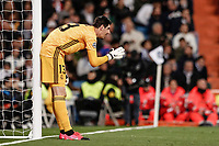 26th February 2020; Estadio Santiago Bernabeu, Madrid, Spain; UEFA Champions League Football, Real Madrid versus Manchester City; Thibaut Courtois (Real Madrid) sets up his defensive wall