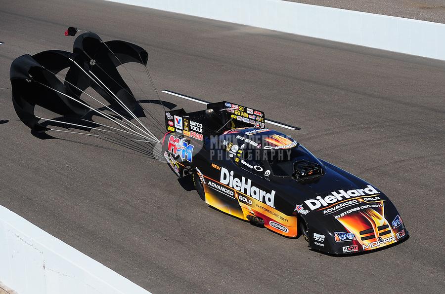 Oct. 15, 2011; Chandler, AZ, USA; NHRA funny car driver Matt Hagan during qualifying at the Arizona Nationals at Firebird International Raceway. Mandatory Credit: Mark J. Rebilas-
