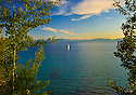 Lake Tahoe Scenic Sailboat Sunset