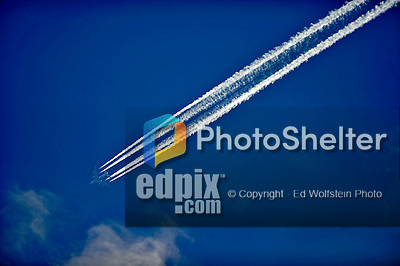 10 June 2012: A four engine jet passes over the ballpark prior to a game between the Washington Nationals and the Boston Red Sox at Fenway Park in Boston, MA. The Nationals defeated the Red Sox 4-3 to sweep their 3-game interleague series. Mandatory Credit: Ed Wolfstein Photo