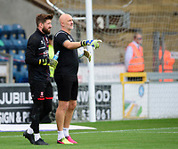 Lincoln City's Josh Vickers, left and Lincoln City's first team goalkeeping coach Andy Warrington during the pre-match warm-up<br /> <br /> Photographer Andrew Vaughan/CameraSport<br /> <br /> The EFL Sky Bet League One - Wycombe Wanderers v Lincoln City - Saturday 7th September 2019 - Adams Park - Wycombe<br /> <br /> World Copyright © 2019 CameraSport. All rights reserved. 43 Linden Ave. Countesthorpe. Leicester. England. LE8 5PG - Tel: +44 (0) 116 277 4147 - admin@camerasport.com - www.camerasport.com