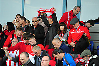 Lincoln City fans watch their team in action<br /> <br /> Photographer Andrew Vaughan/CameraSport<br /> <br /> The EFL Sky Bet League One - Macclesfield Town v Lincoln City - Saturday 15th September 2018 - Moss Rose - Macclesfield<br /> <br /> World Copyright &copy; 2018 CameraSport. All rights reserved. 43 Linden Ave. Countesthorpe. Leicester. England. LE8 5PG - Tel: +44 (0) 116 277 4147 - admin@camerasport.com - www.camerasport.com