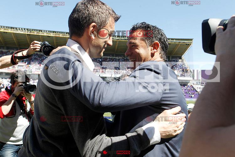Real Valladolid's coach Miroslav Djukic (l) and Getafe's coach Luis Garcia during La Liga match.April 13,2013. (ALTERPHOTOS/Acero)