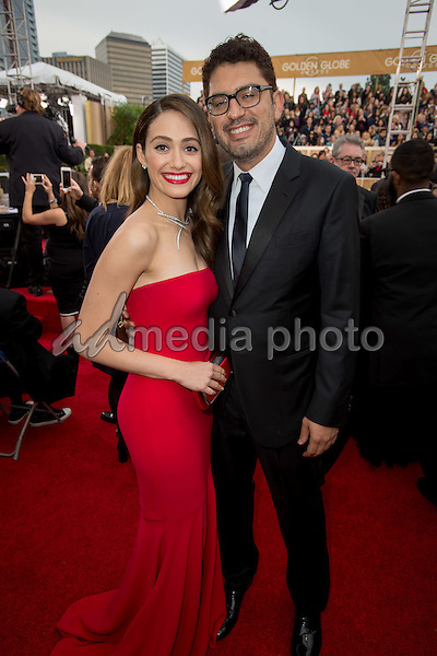 "Emmy Rossum and Sam Esmail, Golden Globe nominee for BEST TELEVISION SERIES – DRAMA for his work on ""Mr. Robot"" (USA Network),  arrive at the 73rd Annual Golden Globe Awards at the Beverly Hilton in Beverly Hills, CA on Sunday, January 10, 2016. Photo Credit: HFPA/AdMedia"