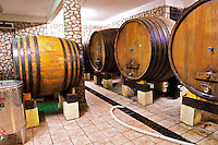 The underground wine cellar with old oak barrels for storing the wine. Vita@I Vitaai Vitai Gangas Winery, Citluk, near Mostar. Federation Bosne i Hercegovine. Bosnia Herzegovina, Europe.