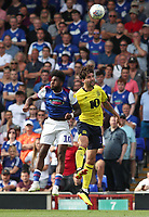 Blackburn Rovers' Charlie Mulgrew and Ipswich Town's Ellis Harrison<br /> <br /> Photographer Rachel Holborn/CameraSport<br /> <br /> The EFL Sky Bet Championship - Ipswich Town v Blackburn Rovers - Saturday 4th August 2018 - Portman Road - Ipswich<br /> <br /> World Copyright &copy; 2018 CameraSport. All rights reserved. 43 Linden Ave. Countesthorpe. Leicester. England. LE8 5PG - Tel: +44 (0) 116 277 4147 - admin@camerasport.com - www.camerasport.com