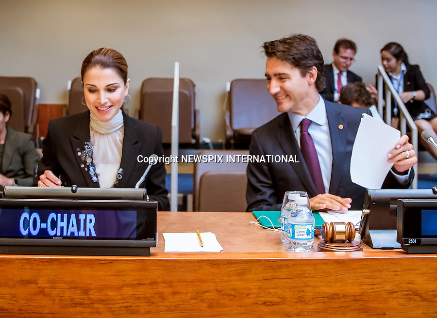19.09.2016; New York; USA: QUEEN RANIA WITH CANADIAN PREMIER JUSTIN TRUDEAU<br /> at the UN Summit for Refugees and Migrants in New York<br /> Mandatory Photo Credit: &copy;Royal Hashemite Court/NEWSPIX INTERNATIONAL<br /> <br /> PHOTO CREDIT MANDATORY!!: NEWSPIX INTERNATIONAL(Failure to credit will incur a surcharge of 100% of reproduction fees)<br /> <br /> IMMEDIATE CONFIRMATION OF USAGE REQUIRED:<br /> Newspix International, 31 Chinnery Hill, Bishop's Stortford, ENGLAND CM23 3PS<br /> Tel:+441279 324672  ; Fax: +441279656877<br /> Mobile:  0777568 1153<br /> e-mail: info@newspixinternational.co.uk<br /> &ldquo;All Fees Payable To Newspix International&rdquo;