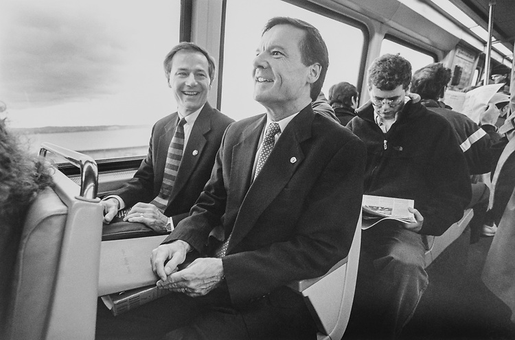 The Hutchinson brothers, Sen. Tim Hutchinson, R-Ark., and Rep. Asa Hutchinson, R-Ark., take the Pentagon City Metro to the Capitol Hill together. They live together too, at the the Ashley at the River Place, Arlington, on March 13, 1997. (Photo by Laura Patterson/CQ Roll Call via Getty Images)