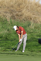 Tommy Fleetwood (Team Europe) plays his 2nd shot on the 13th hole during Saturday's Foursomes Matches at the 2018 Ryder Cup 2018, Le Golf National, Ile-de-France, France. 29/09/2018.<br /> Picture Eoin Clarke / Golffile.ie<br /> <br /> All photo usage must carry mandatory copyright credit (© Golffile | Eoin Clarke)