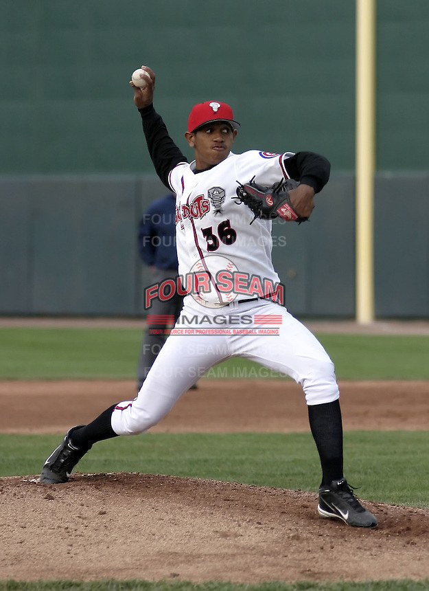 April 21, 2004:  Pitcher Carlos Marmol of the Lansing Lugnuts, Low-A Midwest League affiliate of the Chicago Cubs, during a game at Oldsmobile Park in Lansing, MI.  Photo by:  Mike Janes/Four Seam Images