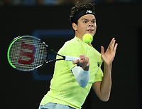 28th January 2020; Melbourne Park, Melbourne, Victoria, Australia; Australian Open Tennis, Day 9; Milos Raonic of Canada during his match against  Novak Djokovic of Serbia