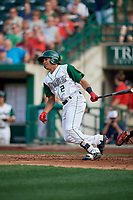 Fort Wayne TinCaps Jawuan Harris (2) at bat during a Midwest League game against the Peoria Chiefs on July 17, 2019 at Parkview Field in Fort Wayne, Indiana.  Fort Wayne defeated Peoria 6-2.  (Mike Janes/Four Seam Images)