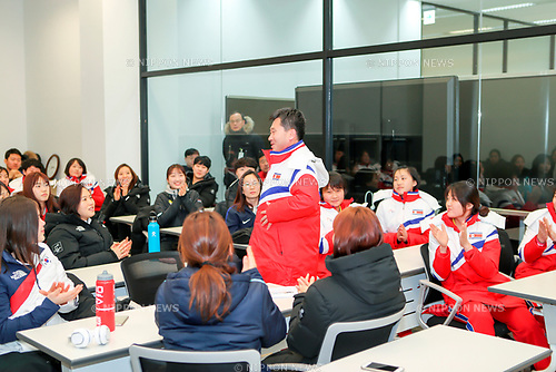 North Korean women's ice hockey team, Jan 25, 2018 : Park Chol-Ho (C), coach of North Korean women's ice hockey team speaks during a team meeting of players of the two Koreas at the Jincheon National Training Center, which is a national athletic training center of South Korea, in Jincheon, southeast of Seoul, South Korea. Twelve North Korean players, a coach and two North Korean support staff crossed the border into South Korea on January 25, 2018 to form a joint South-North women's ice hockey team for the 2018 PyeongChang Winter Olympics. EDITORIAL USE ONLY (Photo by Joint Government Support Corps/AFLO) (SOUTH KOREA)