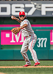 11 September 2016: Philadelphia Phillies infielder Freddy Galvis in action against the Washington Nationals at Nationals Park in Washington, DC. The Nationals edged out the Phillies 3-2 to take the rubber match of their 3-game series. Mandatory Credit: Ed Wolfstein Photo *** RAW (NEF) Image File Available ***