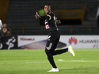 BOGOTA -COLOMBIA, 11-MARZO-2015. Johan Arango del Once Caldas   celebra su gol contra el Indepndiente Santa Fe  durante la novena fecha de La Liga Aguila jugado en el estadio Nemesio Camacho El Campin  of  Bogota . /  Johan Arango of  Oce Caldas  celebrates his goal against   of Independiente Santa Fe   during the ninth  round of La Liga Aguila played at the Nemesio Camacho El Campin stadium in Bogota . Photo / VizzorImage / Felipe Caicedo  / Staff