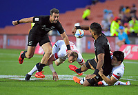 NZ's Dylan Collier has Kurt Baker in support during the men's pool match against USA. Men's pool match between New Zealand and USA. Day one of the 2020 HSBC World Sevens Series Hamilton at FMG Stadium in Hamilton, New Zealand on Saturday, 25 January 2020. Photo: Dave Lintott / lintottphoto.co.nz