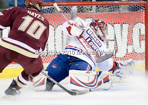 Jimmy Hayes (BC - 10), Carter Hutton (Lowell - 30) - The University of Massachusetts-Lowell River Hawks defeated the Boston College Eagles 3-1 (EN) on Saturday, January 23, 2010, at Tsongas Arena in Lowell, Massachusetts.