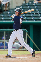 San Antonio Missions outfielder Travis Jankowski (6) swings the bat during the Texas League baseball game against the Midland RockHounds on June 28, 2015 at Nelson Wolff Stadium in San Antonio, Texas. The Missions defeated the RockHounds 7-2. (Andrew Woolley/Four Seam Images)